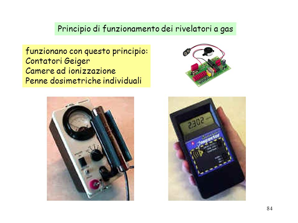 84 funzionano con questo principio: Contatori Geiger Camere ad ionizzazione Penne dosimetriche individuali Principio di funzionamento dei rivelatori a