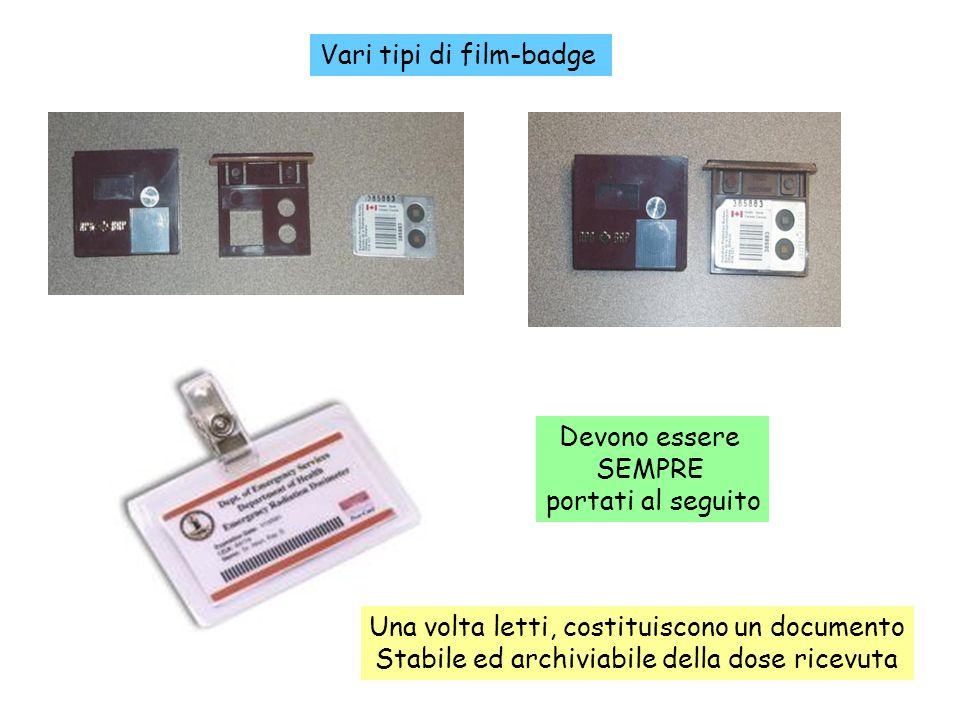 88 Vari tipi di film-badge Devono essere SEMPRE portati al seguito Una volta letti, costituiscono un documento Stabile ed archiviabile della dose rice
