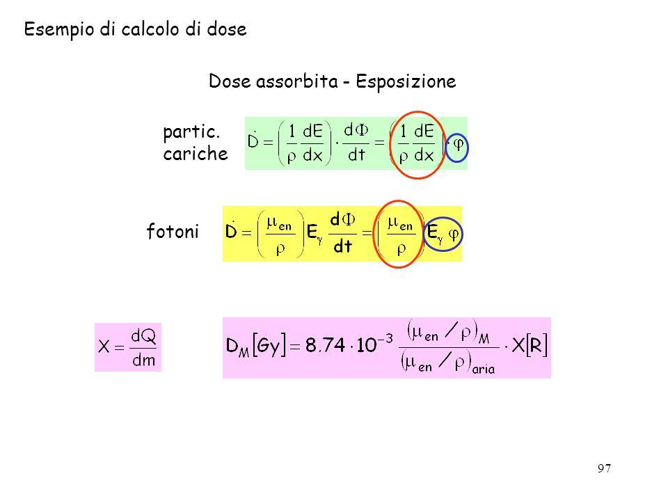 97 Esempio di calcolo di dose Dose assorbita - Esposizione partic. cariche fotoni