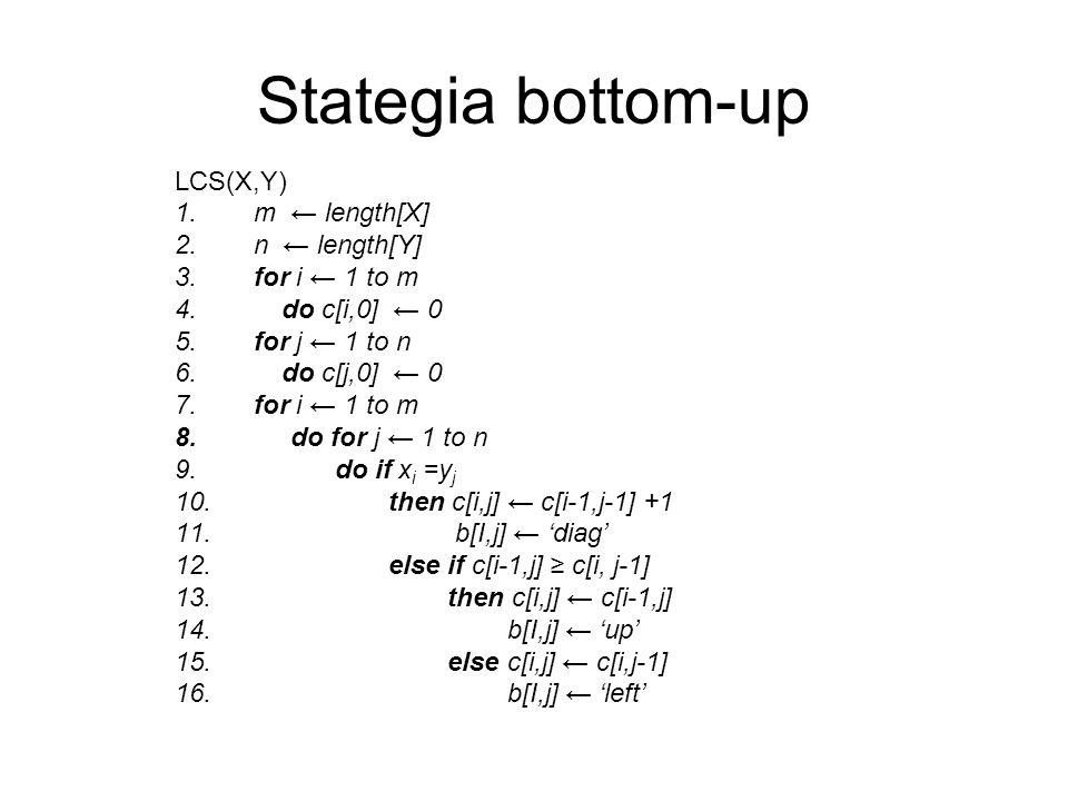 Stategia bottom-up LCS(X,Y) 1. m length[X] 2. n length[Y] 3. for i 1 to m 4. do c[i,0] 0 5. for j 1 to n 6. do c[j,0] 0 7. for i 1 to m 8. do for j 1