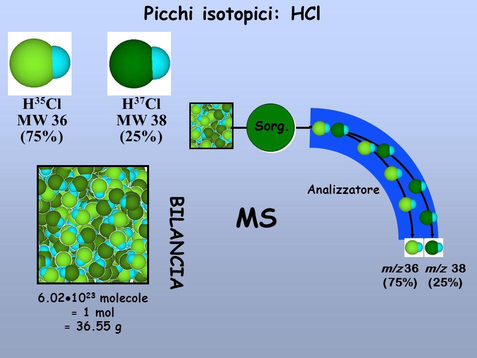 H 35 Cl MW 36 (75%) H 37 Cl MW 38 (25%) Picchi isotopici: HCl m/z 36 (75%) m/z 38 (25%) Sorg. Analizzatore MS 6.02 10 23 molecole = 1 mol = 36.55 g BI
