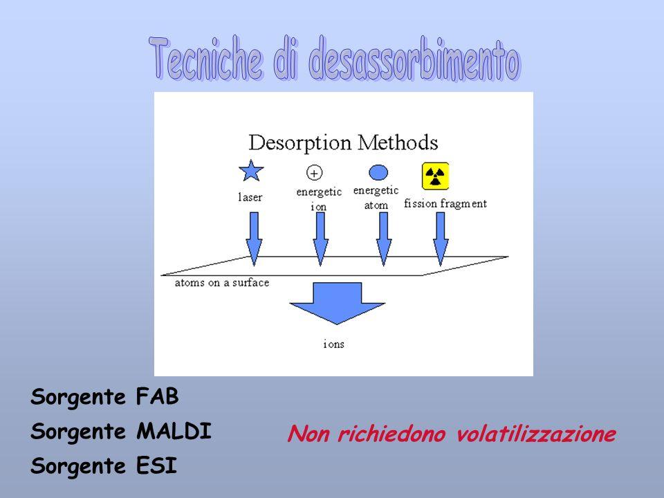 Sorgente FAB Sorgente MALDI Sorgente ESI Non richiedono volatilizzazione