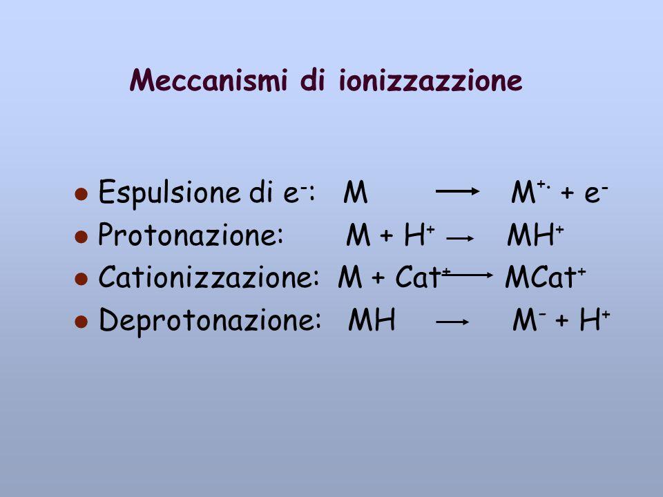 Meccanismi di ionizzazzione Espulsione di e - : M M +. + e - Protonazione: M + H + MH + Cationizzazione: M + Cat + MCat + Deprotonazione: MH M - + H +