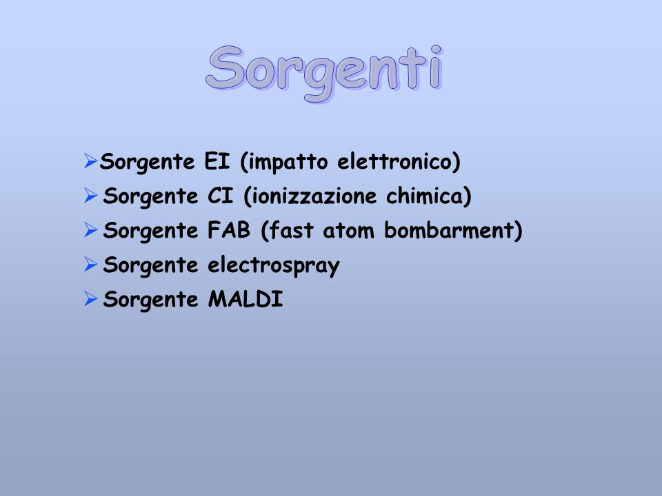 Sorgente EI (impatto elettronico) Sorgente CI (ionizzazione chimica) Sorgente FAB (fast atom bombarment) Sorgente electrospray Sorgente MALDI