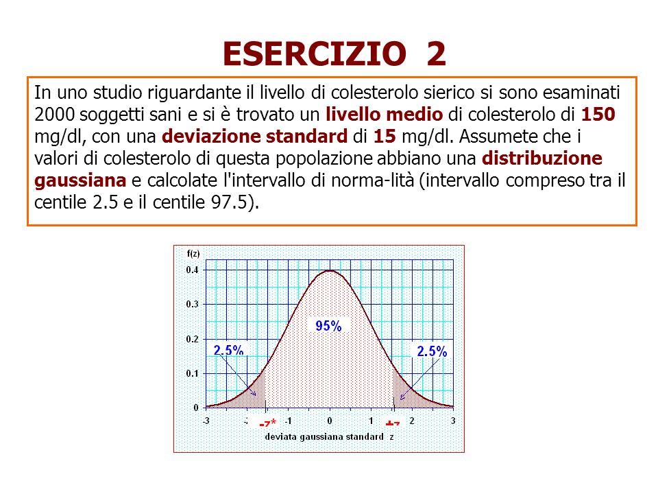 SOLUZIONE ESERCIZIO 2 p(z +z*) = 0.025 p(x 1 < x<x 2 )= p(-z*<z <+z*)= 0.95 |z*| = 1.96 2 x 1 = 150 - 2 15 = 120x 2 = 150 + 2 15 = 180 L intervallo di normalità è 120-180 mg/dl