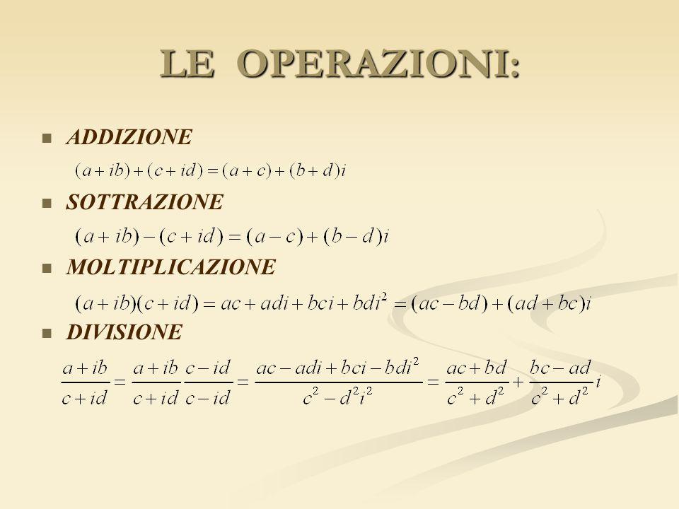 LE OPERAZIONI: ADDIZIONE SOTTRAZIONE MOLTIPLICAZIONE DIVISIONE