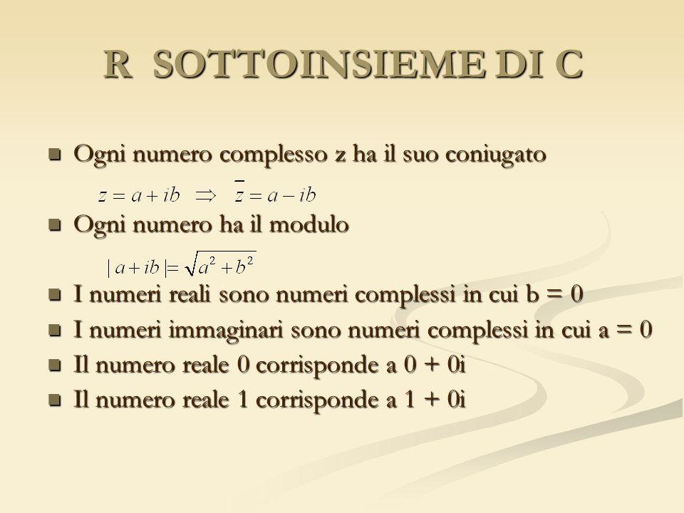 R SOTTOINSIEME DI C Ogni numero complesso z ha il suo coniugato Ogni numero complesso z ha il suo coniugato Ogni numero ha il modulo Ogni numero ha il