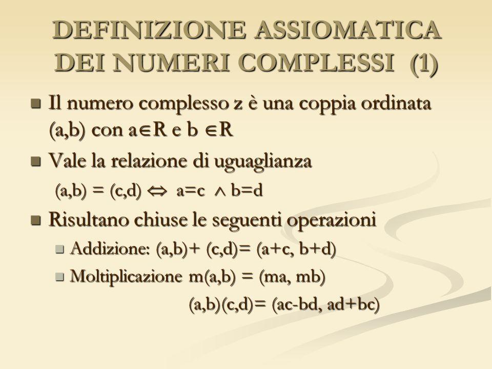 DEFINIZIONE ASSIOMATICA DEI NUMERI COMPLESSI (1) Il numero complesso z è una coppia ordinata (a,b) con a R e b R Il numero complesso z è una coppia or