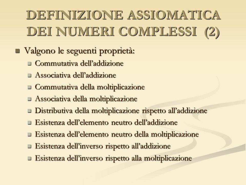 DEFINIZIONE ASSIOMATICA DEI NUMERI COMPLESSI (2) Valgono le seguenti proprietà: Valgono le seguenti proprietà: Commutativa delladdizione Commutativa d