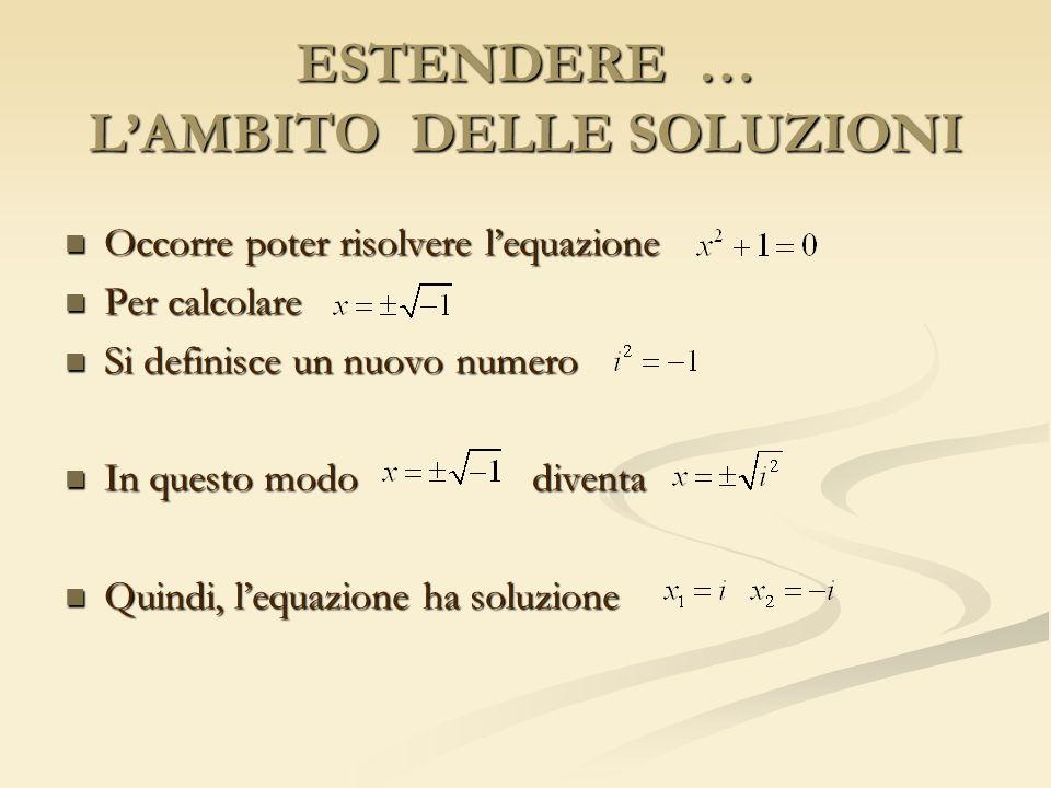 ESTENDERE … LAMBITO DELLE SOLUZIONI Occorre poter risolvere lequazione Occorre poter risolvere lequazione Per calcolare Per calcolare Si definisce un