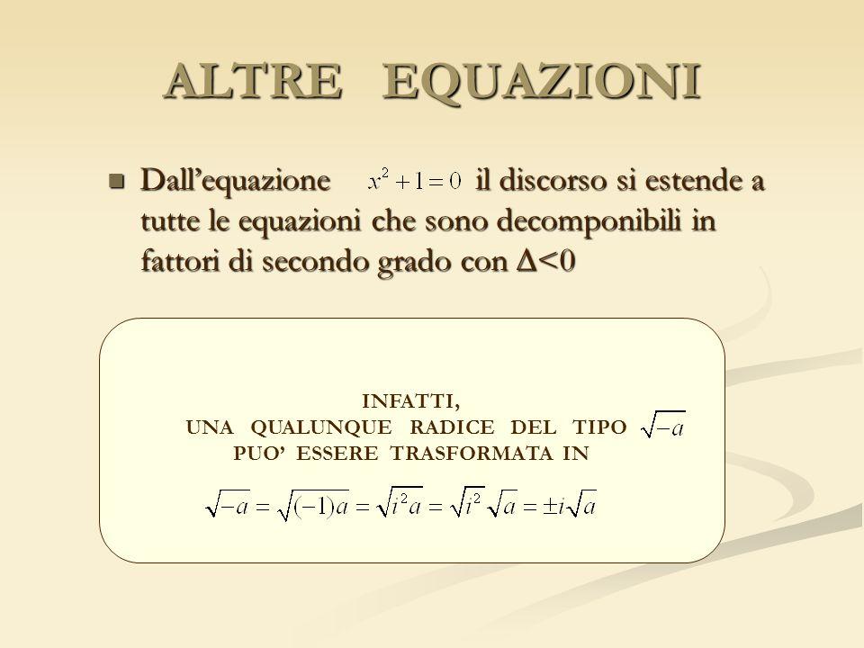 ALTRE EQUAZIONI Dallequazione il discorso si estende a tutte le equazioni che sono decomponibili in fattori di secondo grado con <0 Dallequazione il d