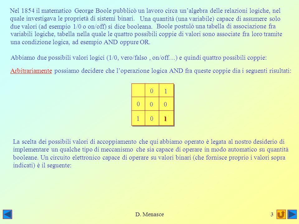 D. Menasce2 Il programma del Corso Seconda Parte Implementazione di un circuito logico booleano 2)