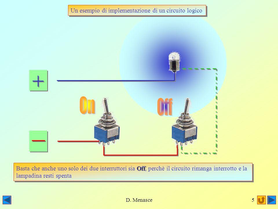 D. Menasce4 + + _ _ Un esempio di implementazione di un circuito logico Consideriamo un circuito composto da due interruttori e da una lampadina: Cons