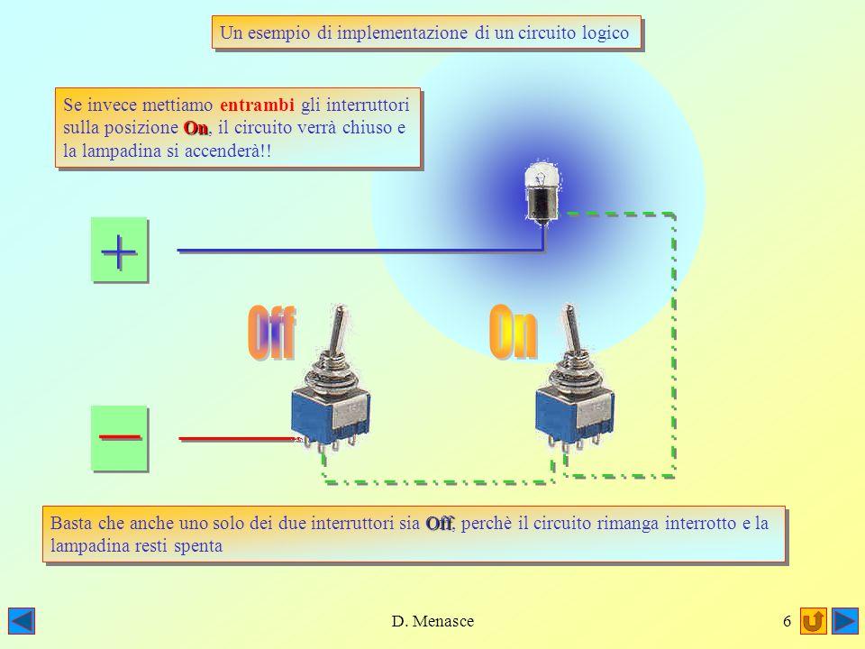 D. Menasce5 + + _ _ Off Basta che anche uno solo dei due interruttori sia Off, perchè il circuito rimanga interrotto e la lampadina resti spenta Off B