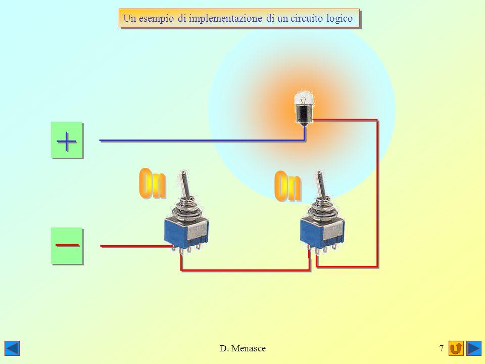 D. Menasce6 + + _ _ Off Basta che anche uno solo dei due interruttori sia Off, perchè il circuito rimanga interrotto e la lampadina resti spenta Off B