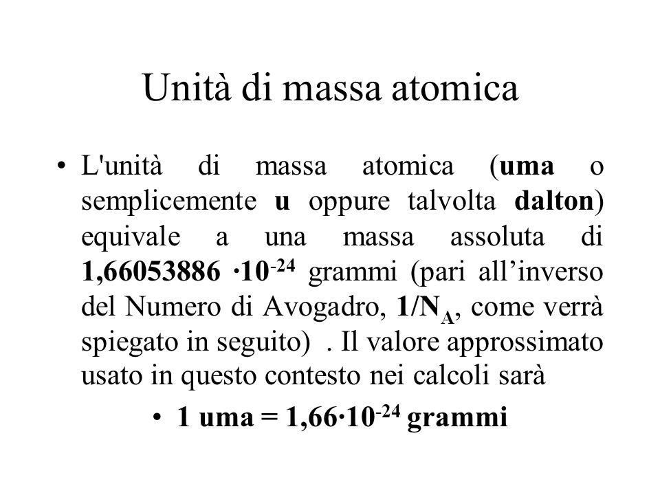 Unità di massa atomica L'unità di massa atomica (uma o semplicemente u oppure talvolta dalton) equivale a una massa assoluta di 1,66053886 ·10 -24 gra