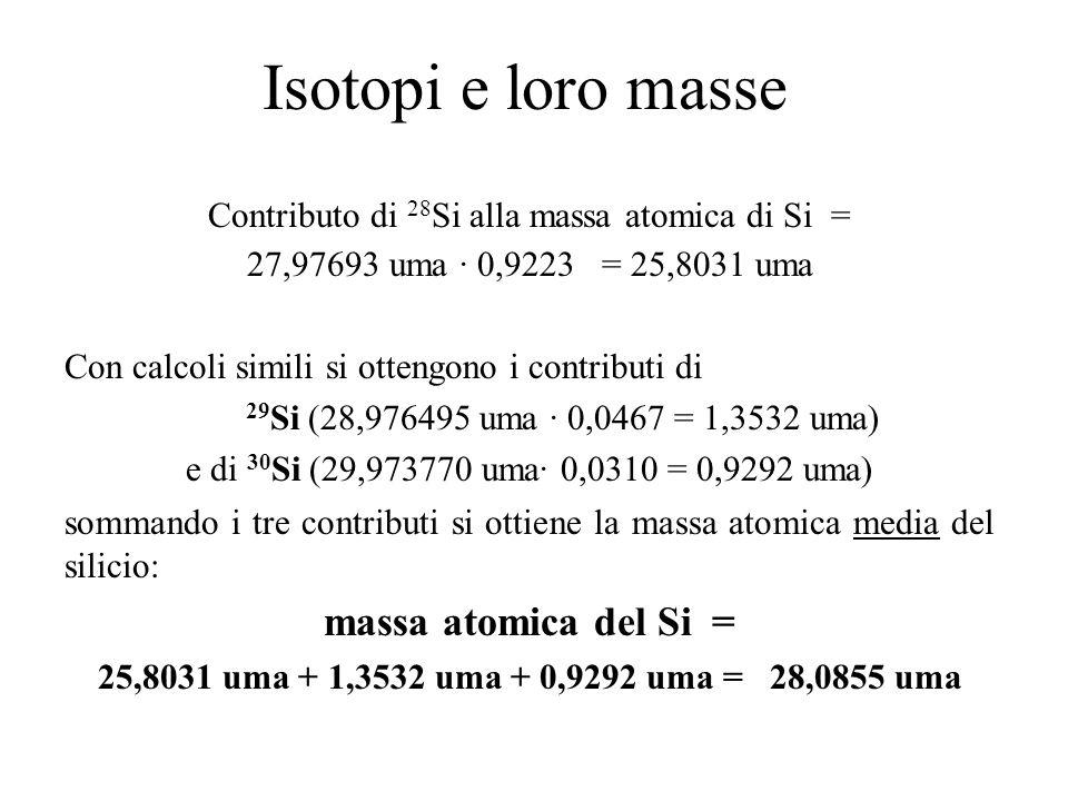 Isotopi e loro masse Contributo di 28 Si alla massa atomica di Si = 27,97693 uma · 0,9223 = 25,8031 uma Con calcoli simili si ottengono i contributi d