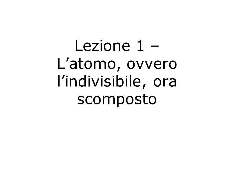 Lezione 1 – Latomo, ovvero lindivisibile, ora scomposto