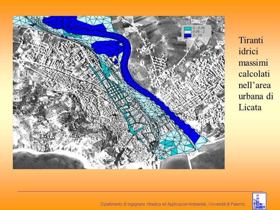 Dipartimento di Ingegneria Idraulica ed Applicazioni Ambientali, Università di Palermo. Tiranti idrici massimi calcolati nellarea urbana di Licata