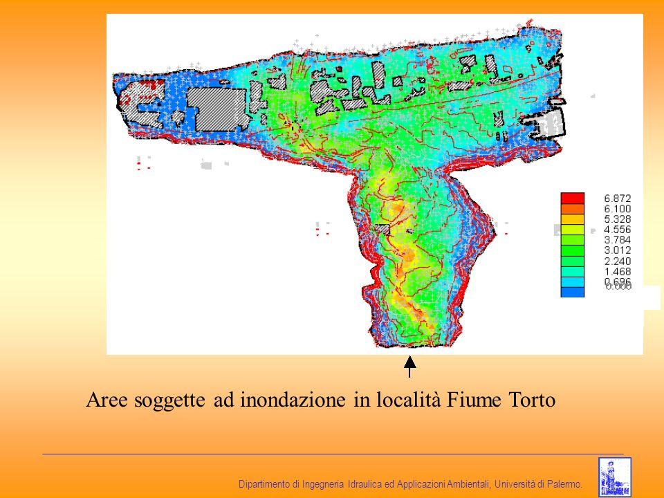 Dipartimento di Ingegneria Idraulica ed Applicazioni Ambientali, Università di Palermo. Aree soggette ad inondazione in località Fiume Torto