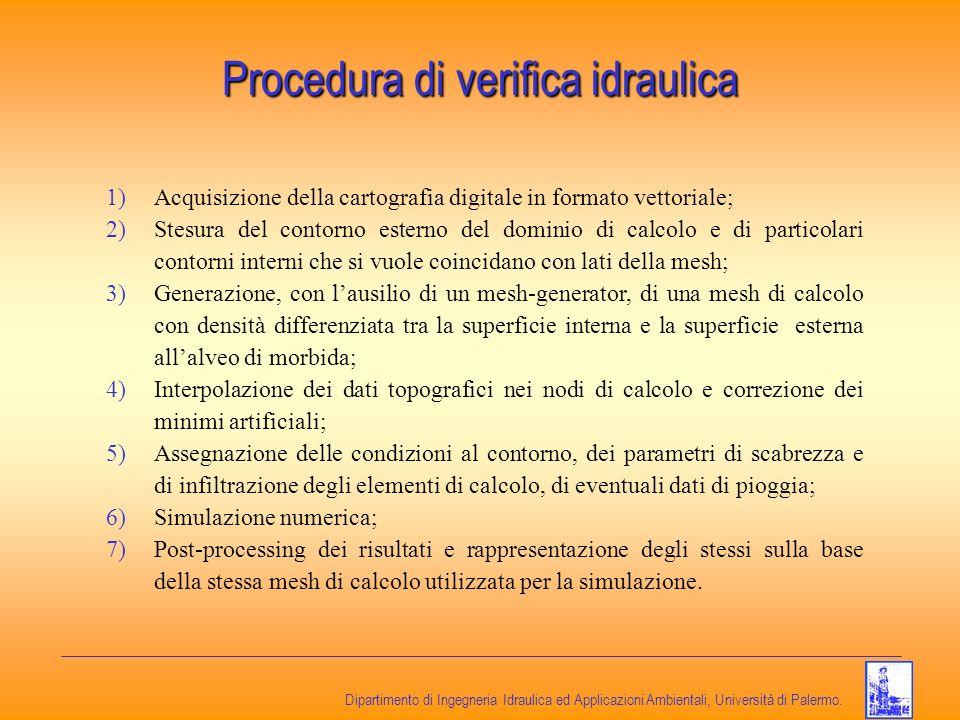 Dipartimento di Ingegneria Idraulica ed Applicazioni Ambientali, Università di Palermo. Procedura di verifica idraulica 1)Acquisizione della cartograf