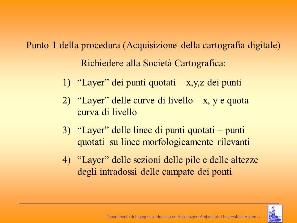 Dipartimento di Ingegneria Idraulica ed Applicazioni Ambientali, Università di Palermo. Punto 1 della procedura (Acquisizione della cartografia digita