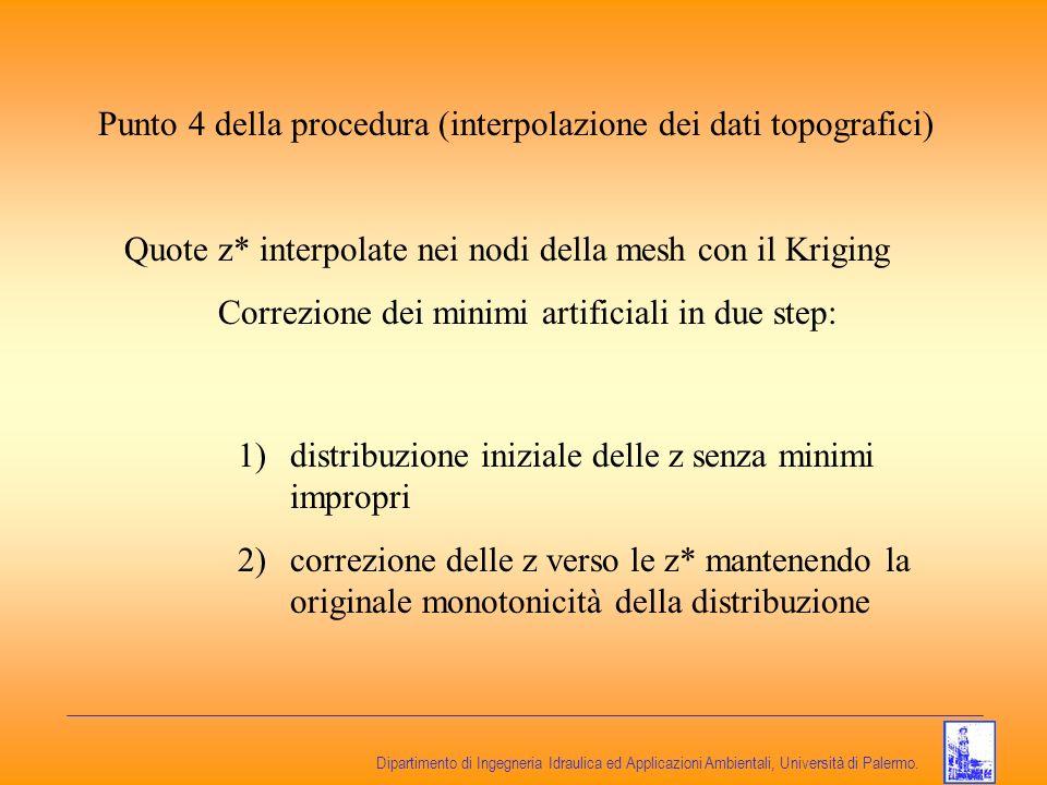 Dipartimento di Ingegneria Idraulica ed Applicazioni Ambientali, Università di Palermo. Punto 4 della procedura (interpolazione dei dati topografici)