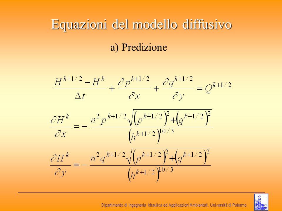 Dipartimento di Ingegneria Idraulica ed Applicazioni Ambientali, Università di Palermo. Equazioni del modello diffusivo a) Predizione