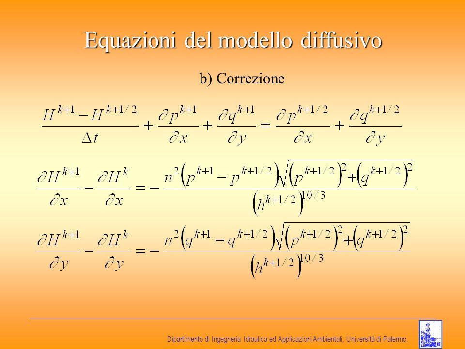 Dipartimento di Ingegneria Idraulica ed Applicazioni Ambientali, Università di Palermo. Equazioni del modello diffusivo b) Correzione