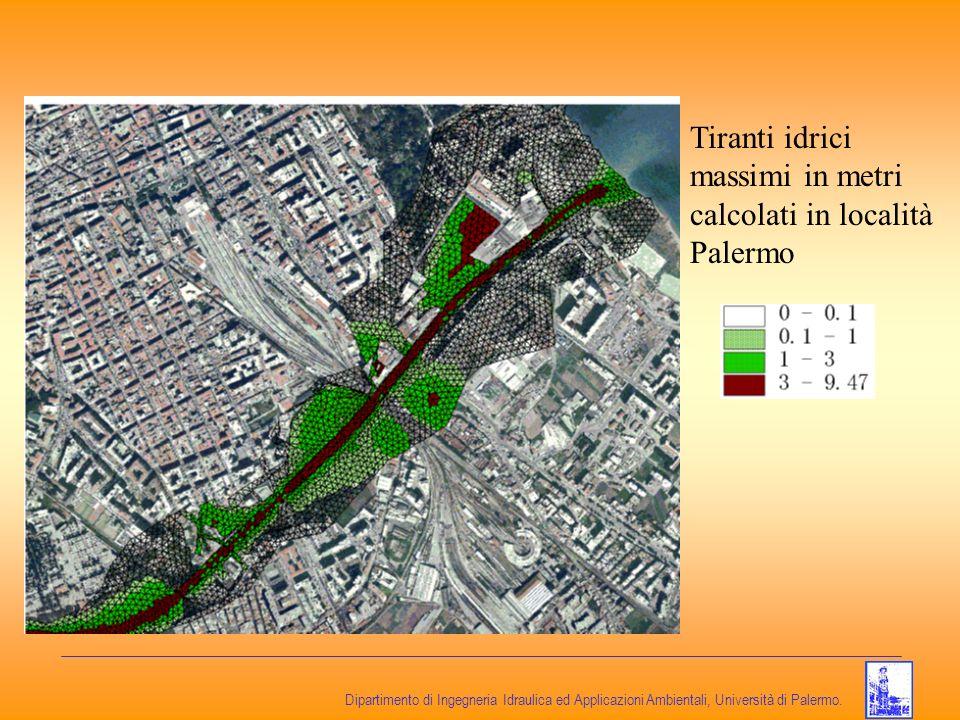 Dipartimento di Ingegneria Idraulica ed Applicazioni Ambientali, Università di Palermo. Tiranti idrici massimi in metri calcolati in località Palermo