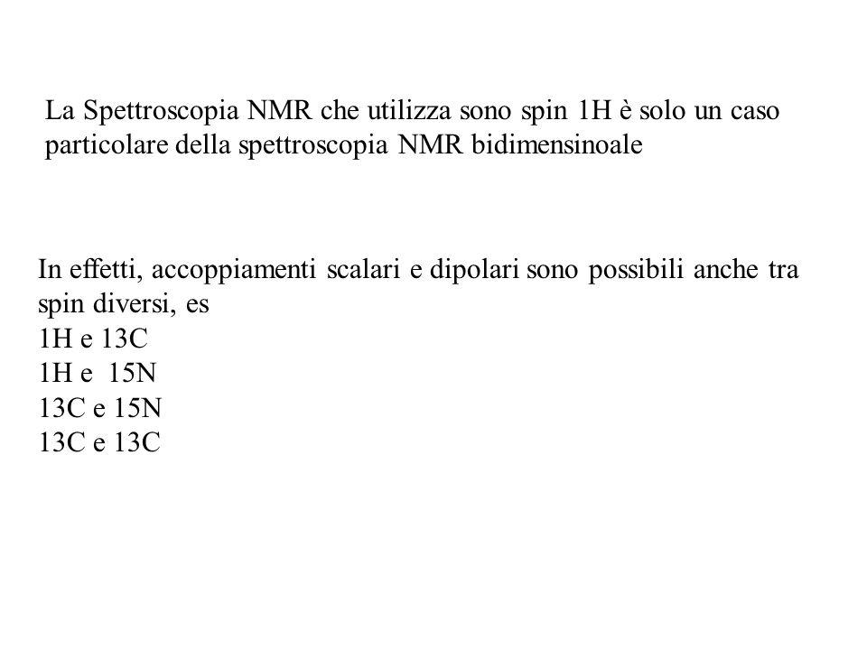 La Spettroscopia NMR che utilizza sono spin 1H è solo un caso particolare della spettroscopia NMR bidimensinoale In effetti, accoppiamenti scalari e d