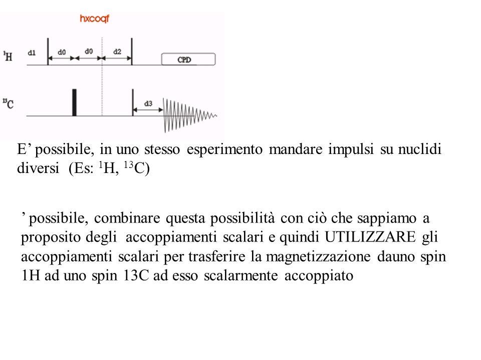 E possibile, in uno stesso esperimento mandare impulsi su nuclidi diversi (Es: 1 H, 13 C) possibile, combinare questa possibilità con ciò che sappiamo