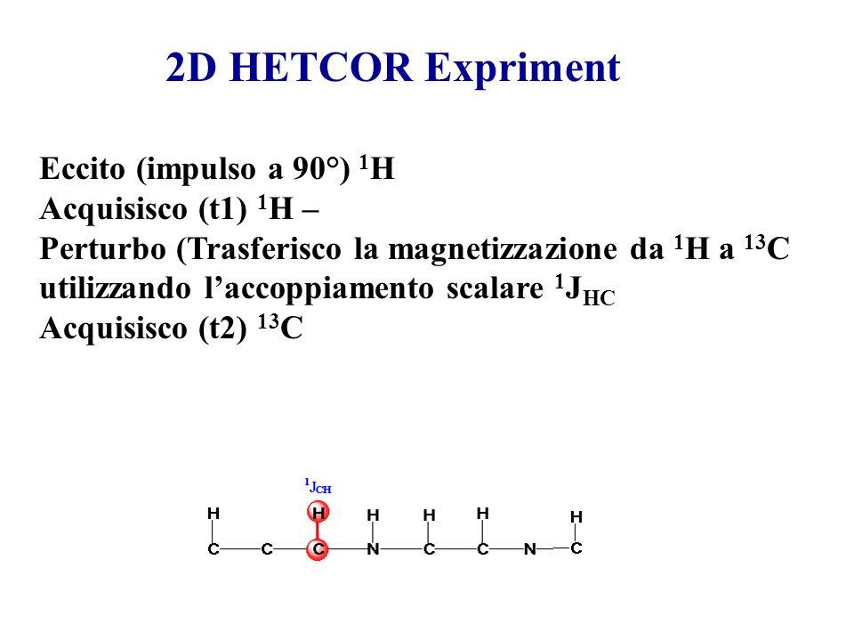Eccito (impulso a 90°) 1 H Acquisisco (t1) 1 H – Perturbo (Trasferisco la magnetizzazione da 1 H a 13 C utilizzando laccoppiamento scalare 1 J HC Acqu
