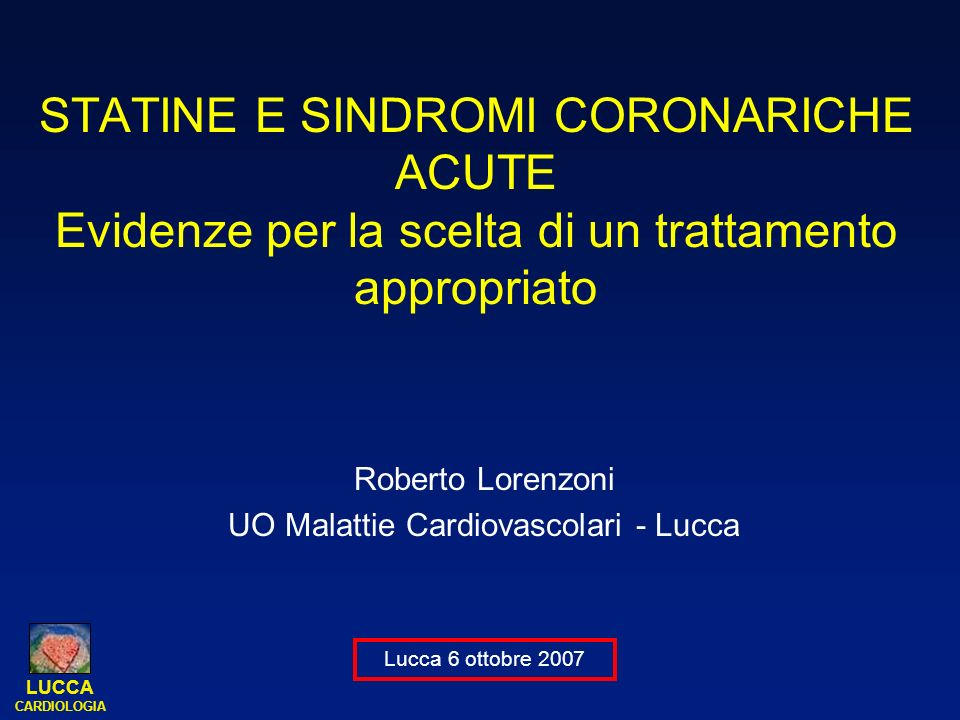 LUCCA CARDIOLOGIA 32/35 Rosuvastatin 40 mg (n=349 evaluated serial IVUS examinations) Patients CAD, undergoing coronary angiography Target coronary artery: 50% reduction in lumen diameter of 40 mm segment No cholesterol entry criteria 18 years Visit: Week: Lipids Lipids Tolerability IVUS Lipids Tolerability Lipids Tolerability Tolerability 1 –6 2020 3 13 4 26 5 39 6 52 7 65 8 78 9 91 10 104 Eligibility assessment CAD=coronary artery disease; PCI=percutaneous coronary intervention; IVUS=intravascular ultrasound IVUS ASTEROID –study design
