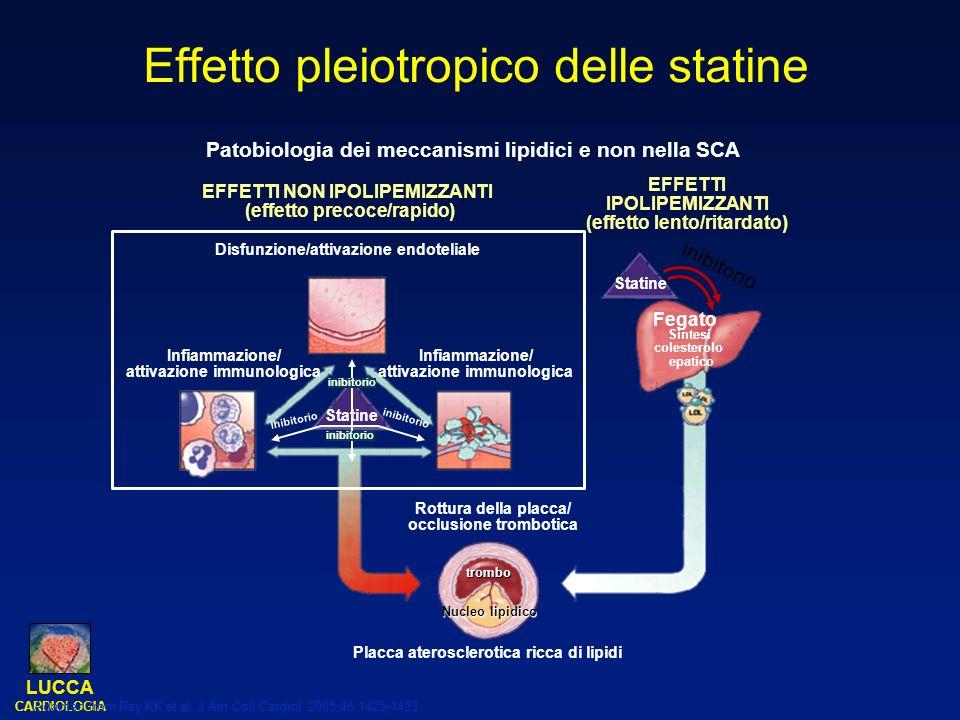 LUCCA CARDIOLOGIA Adapted from Ray KK et al. J Am Coll Cardiol. 2005;46:1425-1433. Effetto pleiotropico delle statine Patobiologia dei meccanismi lipi