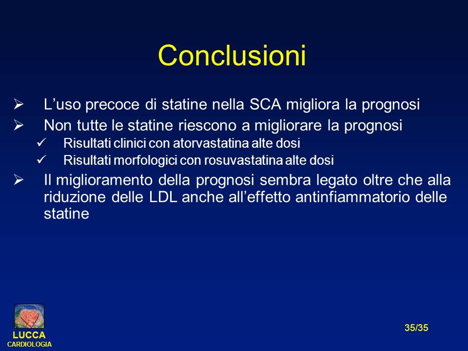 LUCCA CARDIOLOGIA 35/35 Conclusioni Luso precoce di statine nella SCA migliora la prognosi Non tutte le statine riescono a migliorare la prognosi Risu