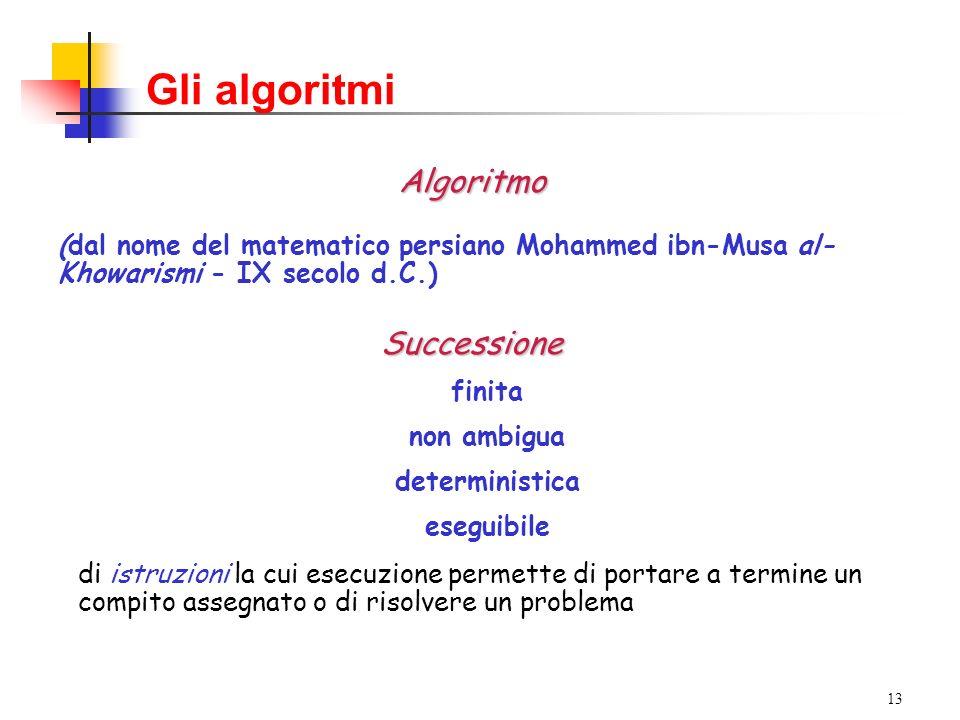 13 Gli algoritmi Algoritmo (dal nome del matematico persiano Mohammed ibn-Musa al- Khowarismi - IX secolo d.C.)Successione finita non ambigua deterministica eseguibile di istruzioni la cui esecuzione permette di portare a termine un compito assegnato o di risolvere un problema