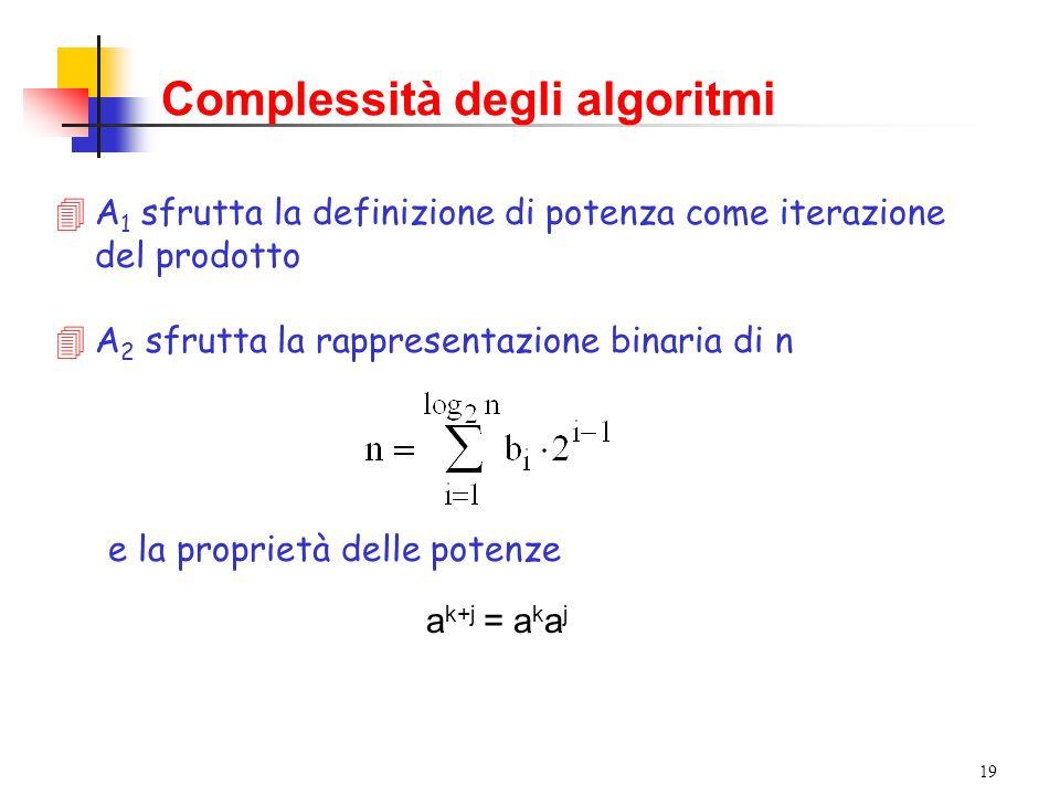 19 e la proprietà delle potenze a k+j = a k a j Complessità degli algoritmi 4A 1 sfrutta la definizione di potenza come iterazione del prodotto 4A 2 sfrutta la rappresentazione binaria di n