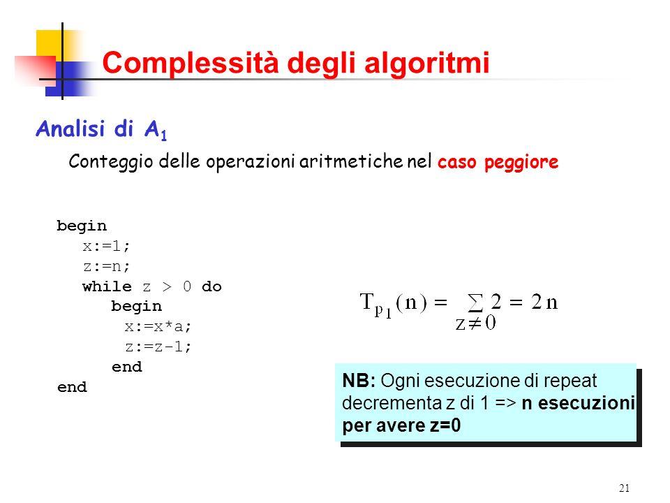 21 Complessità degli algoritmi Analisi di A 1 Conteggio delle operazioni aritmetiche nel caso peggiore begin x:=1; z:=n; while z > 0 do begin x:=x*a; z:=z-1; end NB: Ogni esecuzione di repeat decrementa z di 1 => n esecuzioni per avere z=0 NB: Ogni esecuzione di repeat decrementa z di 1 => n esecuzioni per avere z=0