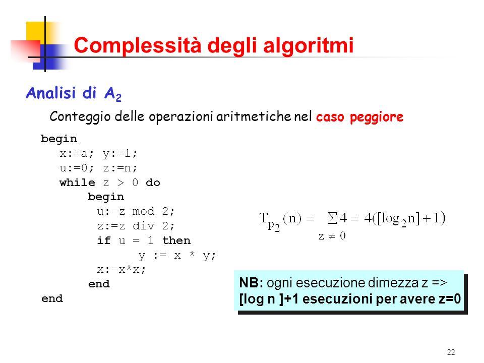 22 Complessità degli algoritmi Analisi di A 2 Conteggio delle operazioni aritmetiche nel caso peggiore begin x:=a; y:=1; u:=0; z:=n; while z > 0 do begin u:=z mod 2; z:=z div 2; if u = 1 then y := x * y; x:=x*x; end NB: ogni esecuzione dimezza z => [log n ]+1 esecuzioni per avere z=0 NB: ogni esecuzione dimezza z => [log n ]+1 esecuzioni per avere z=0