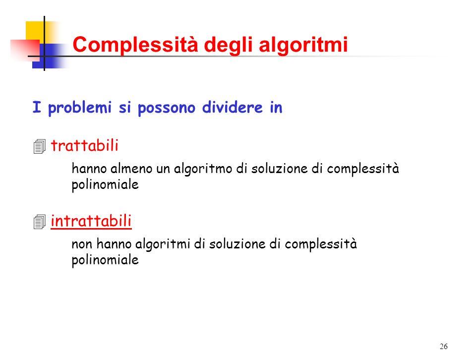 26 Complessità degli algoritmi I problemi si possono dividere in 4trattabili hanno almeno un algoritmo di soluzione di complessità polinomiale 4intrattabili non hanno algoritmi di soluzione di complessità polinomiale