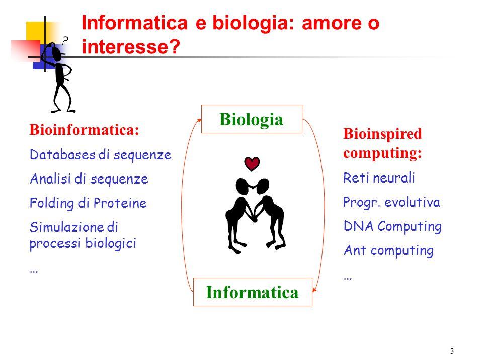 3 Informatica e biologia: amore o interesse? Biologia Informatica Bioinspired computing: Reti neurali Progr. evolutiva DNA Computing Ant computing … B