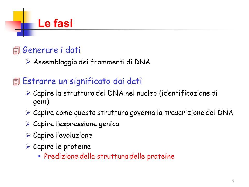 7 Le fasi 4Generare i dati Assemblaggio dei frammenti di DNA 4Estrarre un significato dai dati Capire la struttura del DNA nel nucleo (identificazione di geni) Capire come questa struttura governa la trascrizione del DNA Capire lespressione genica Capire levoluzione Capire le proteine Predizione della struttura delle proteine