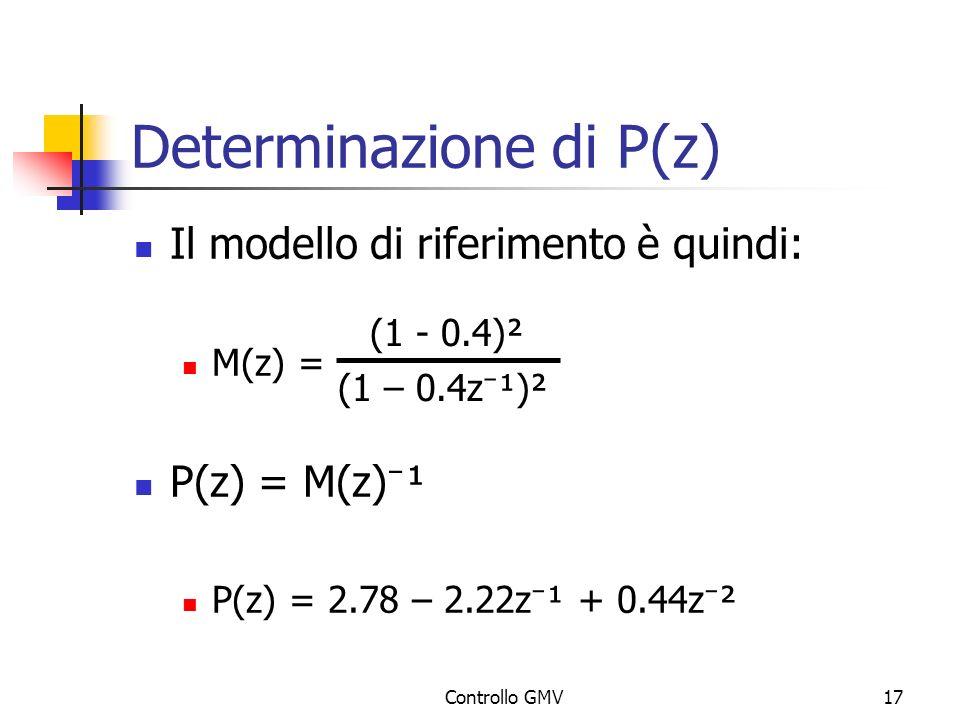 Controllo GMV17 Determinazione di P(z) Il modello di riferimento è quindi: M(z) = P(z) = M(z) ¹ P(z) = 2.78 – 2.22z ¹ + 0.44z ² (1 - 0.4)² (1 – 0.4z ¹