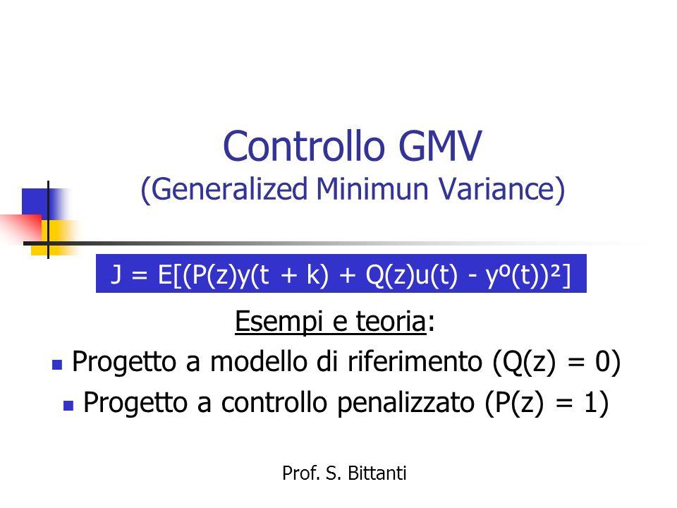 Controllo GMV (Generalized Minimun Variance) Esempi e teoria: Progetto a modello di riferimento (Q(z) = 0) Progetto a controllo penalizzato (P(z) = 1)