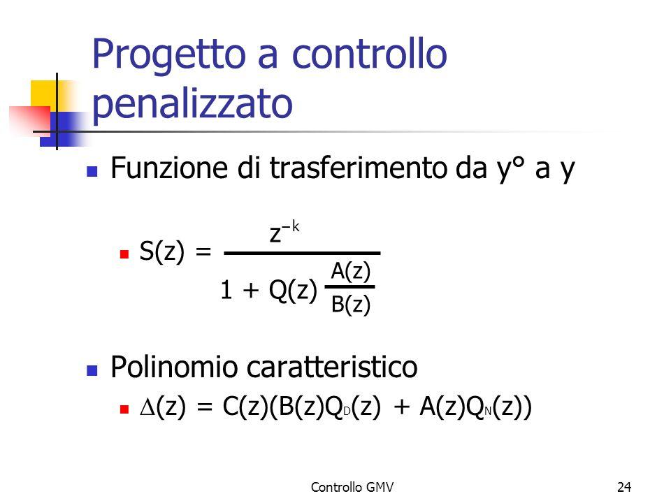Controllo GMV24 Progetto a controllo penalizzato Funzione di trasferimento da y° a y S(z) = Polinomio caratteristico (z) = C(z)(B(z)Q D (z) + A(z)Q N