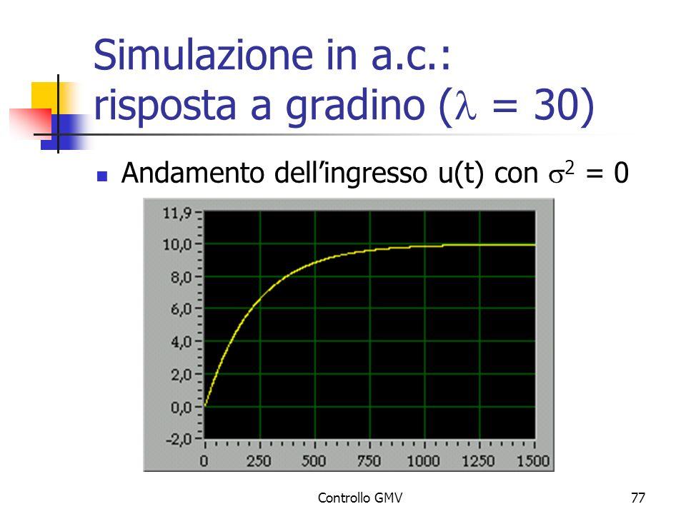 Controllo GMV77 Simulazione in a.c.: risposta a gradino ( = 30) Andamento dellingresso u(t) con 2 = 0