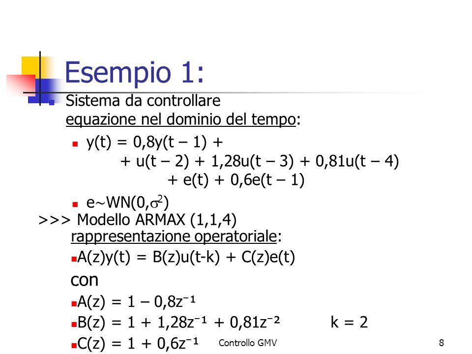 Controllo GMV8 Esempio 1: Sistema da controllare equazione nel dominio del tempo: y(t) = 0,8y(t – 1) + + u(t – 2) + 1,28u(t – 3) + 0,81u(t – 4) + e(t)