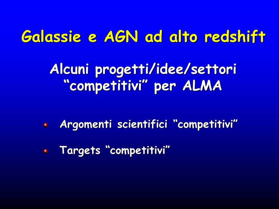 Galassie e AGN ad alto redshift Argomenti scientifici competitivi Argomenti scientifici competitivi Targets competitivi Targets competitivi Alcuni pro