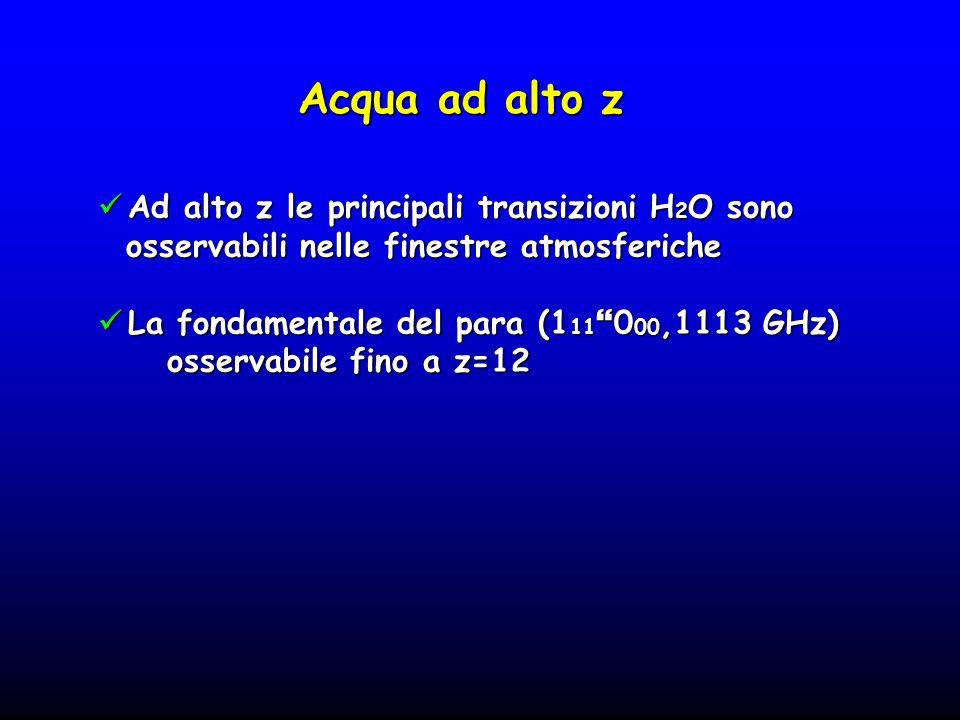Acqua ad alto z Ad alto z le principali transizioni H 2 O sono Ad alto z le principali transizioni H 2 O sono osservabili nelle finestre atmosferiche